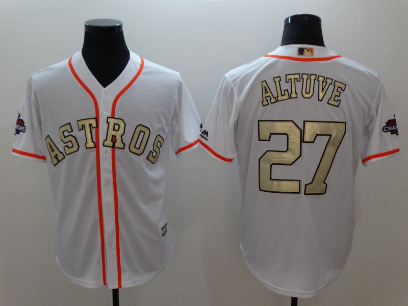 Men Houston Astros 27 Altuve White Gold version Game MLB Jerseys
