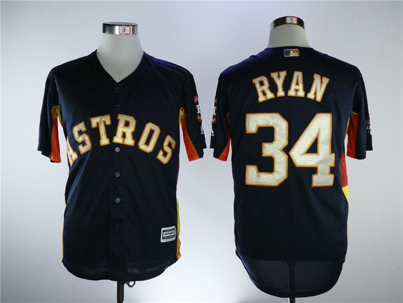 Men Houston Astros 34 Ryan Blue Game Champion Edition MLB Jerseys