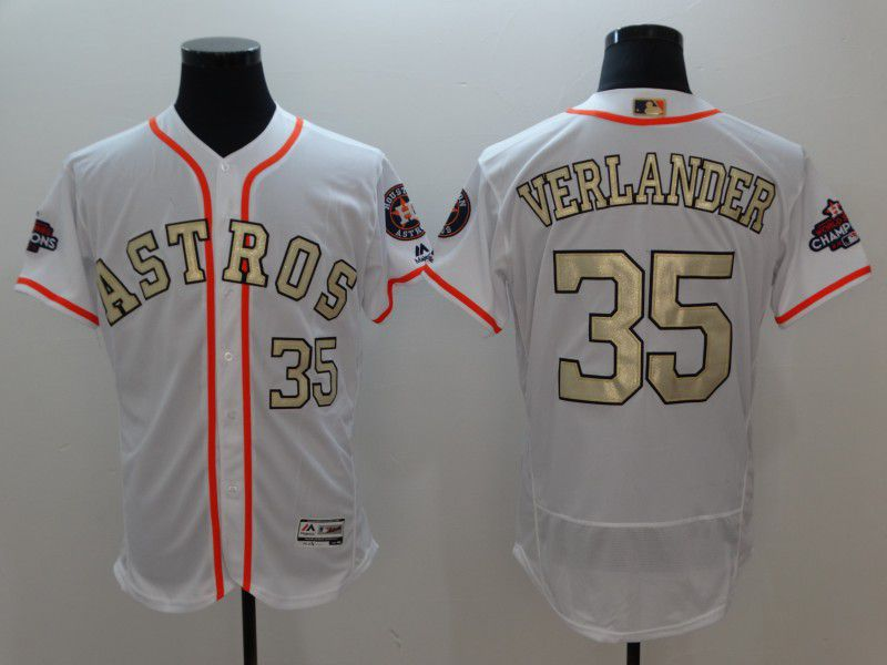 Men Houston Astros 35 Verlander White Gold version Elite MLB Jerseys