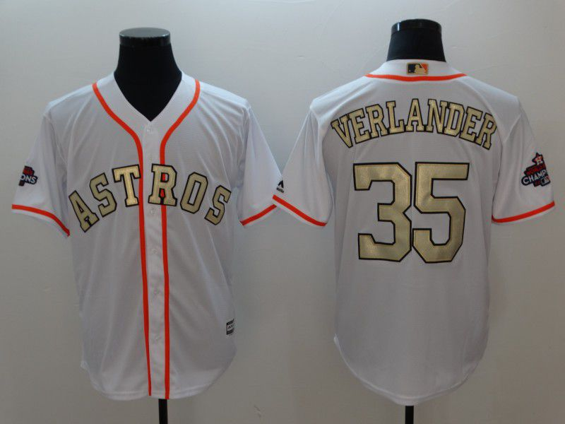 Men Houston Astros 35 Verlander White Gold version Game MLB Jerseys