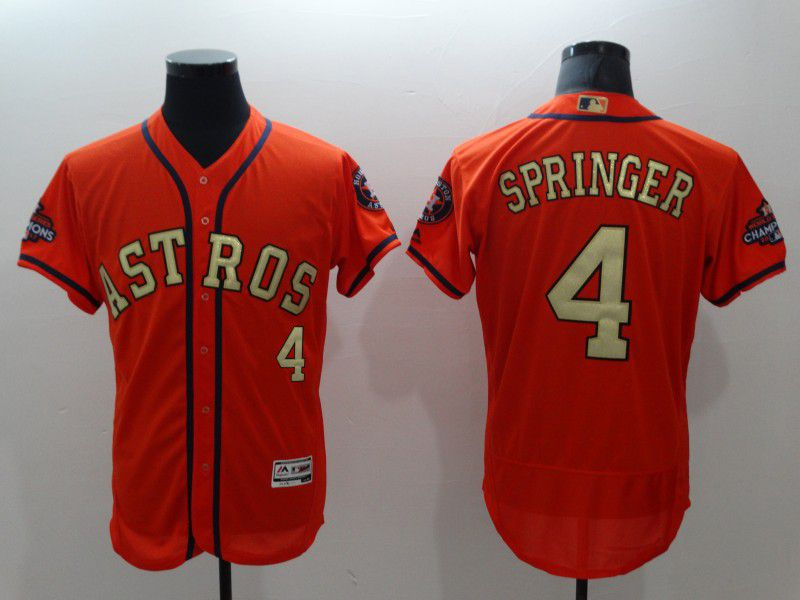 Men Houston Astros 4 Springer Orange Elite Champion Edition MLB Jerseys