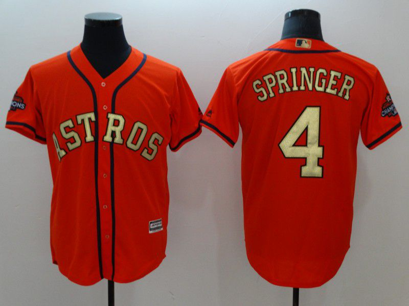 Men Houston Astros 4 Springer Orange Game Champion Edition MLB Jerseys