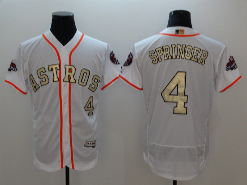 Men Houston Astros 4 Springer White Gold version Elite MLB Jerseys
