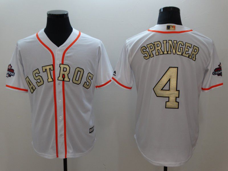 Men Houston Astros 4 Springer White Gold version Game MLB Jerseys