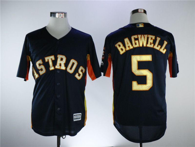 Men Houston Astros 5 Bagwell Blue Game Champion Edition MLB Jerseys
