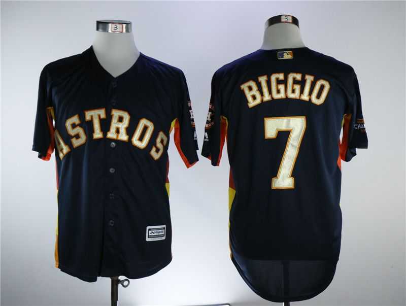 Men Houston Astros 7 Biggio Blue Game Champion Edition MLB Jerseys
