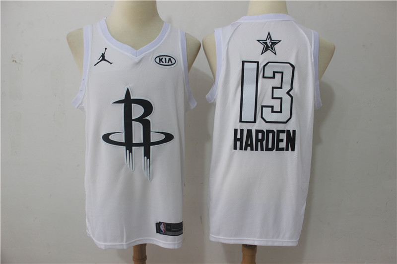 Men Houston Rockets 13 Harden White 2108 All Stars NBA Jerseys