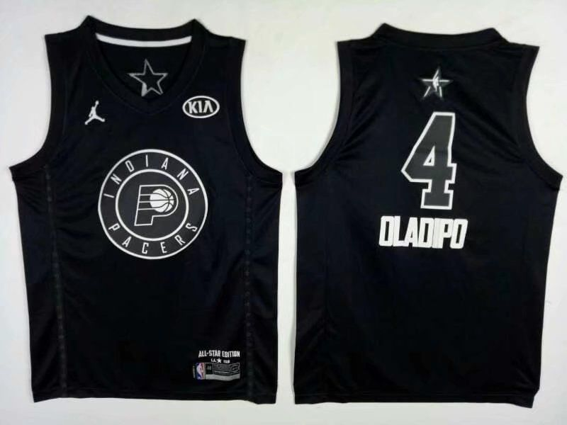 Men Indiana Pacers 4 Oladipo Black 2108 All Stars NBA Jerseys
