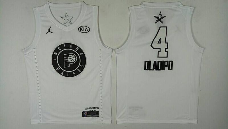 Men Indiana Pacers 4 Oladipo White 2108 All Stars NBA Jerseys