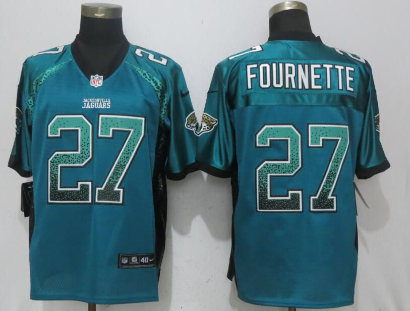 Men Jacksonville Jaguars 27 Fournette Drift Fashion Green Nike Elite NFL Jerseys