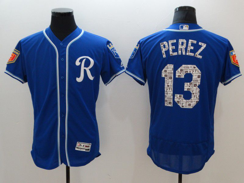 Men Kansas City Royals 13 Perz Blue Elite Spring Edition MLB Jerseys