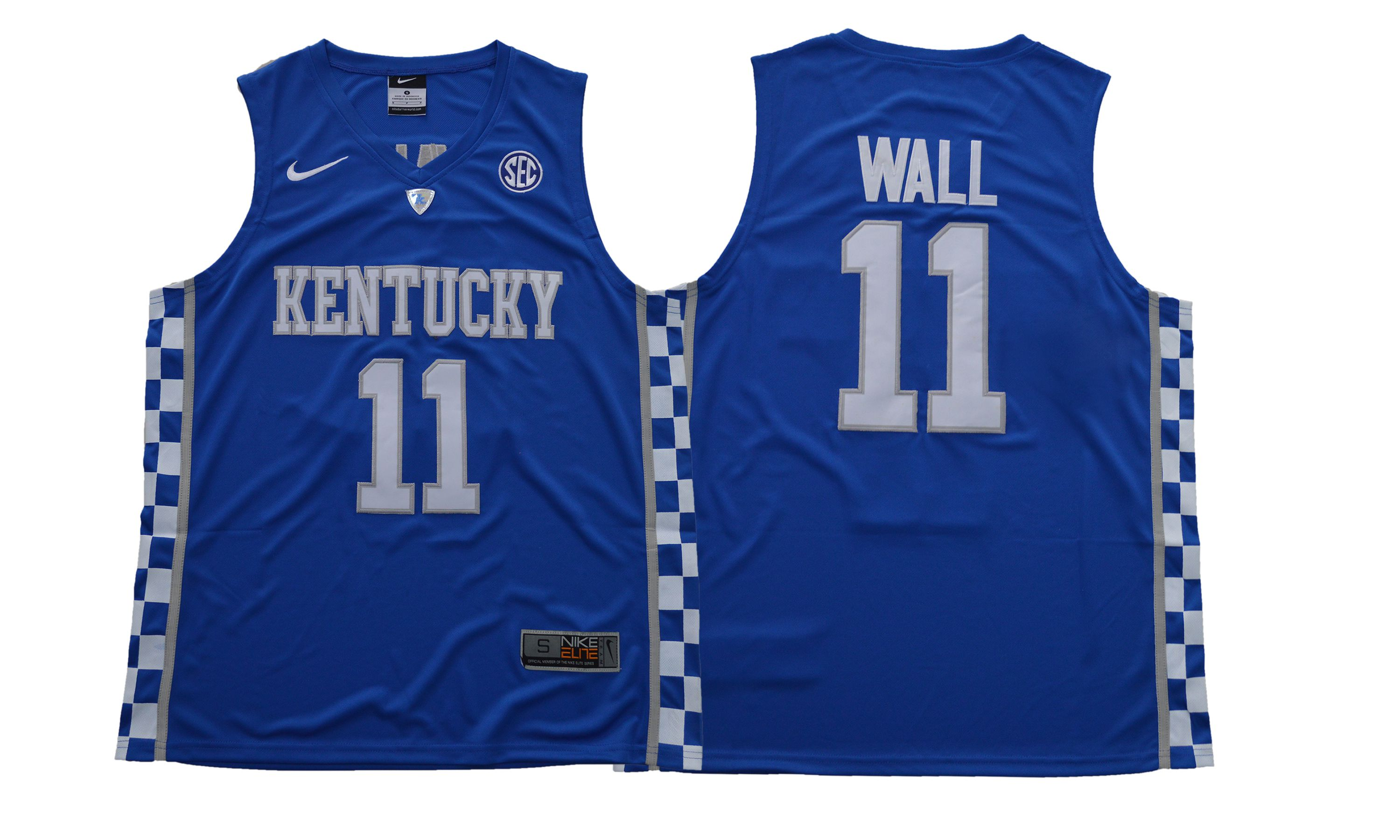 Men Kentucky Wildcats 11 Wall Blue NBA NCAA Jerseys