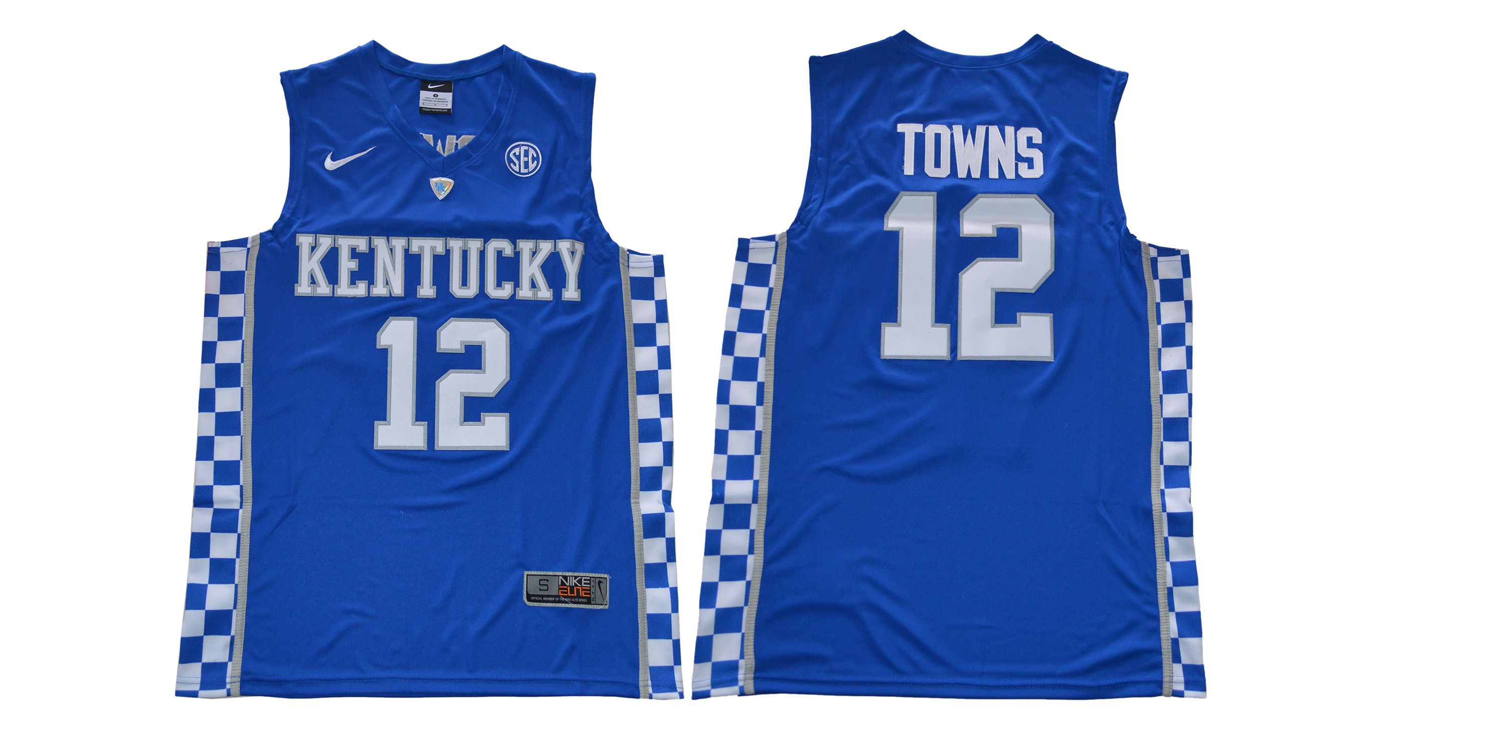 Men Kentucky Wildcats 12 Towns Blue NBA NCAA Jerseys