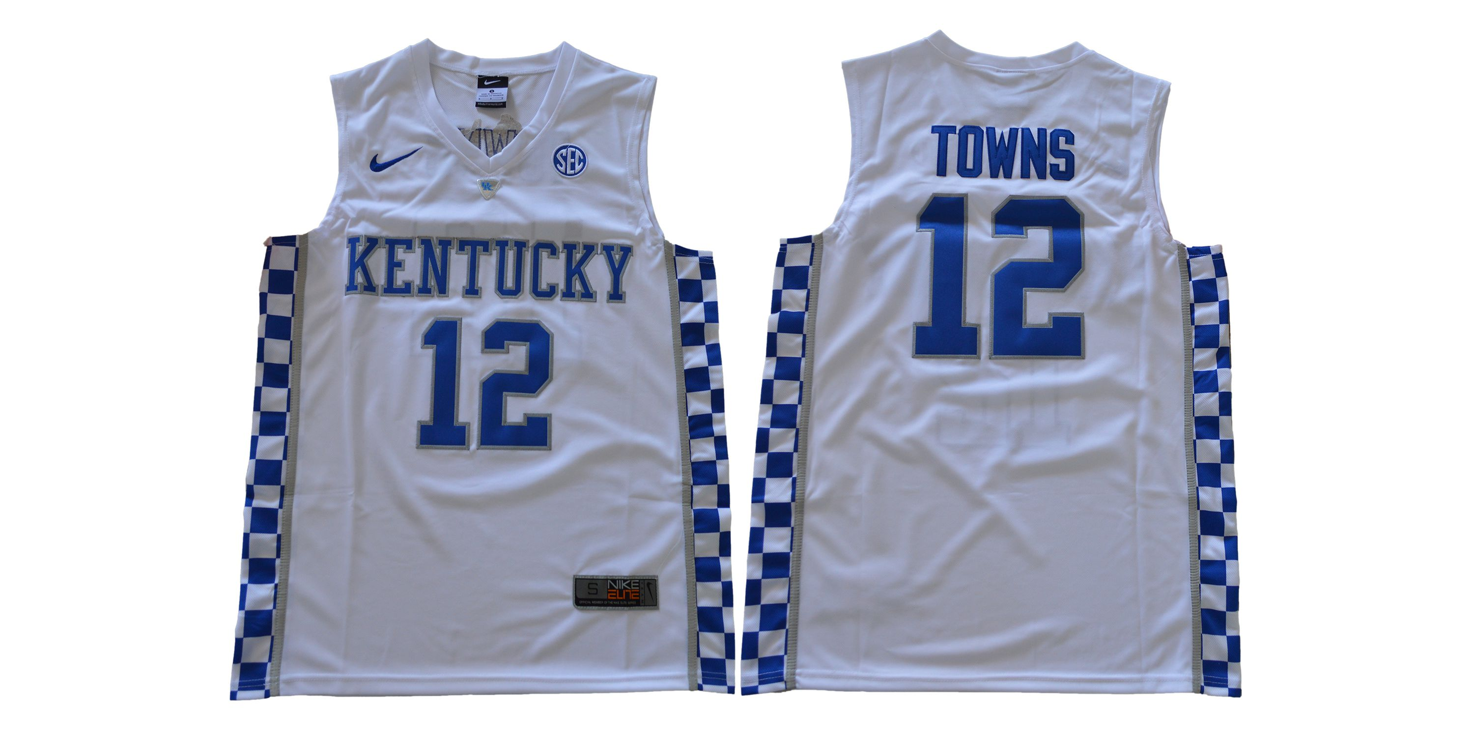 Men Kentucky Wildcats 12 Towns White NBA NCAA Jerseys