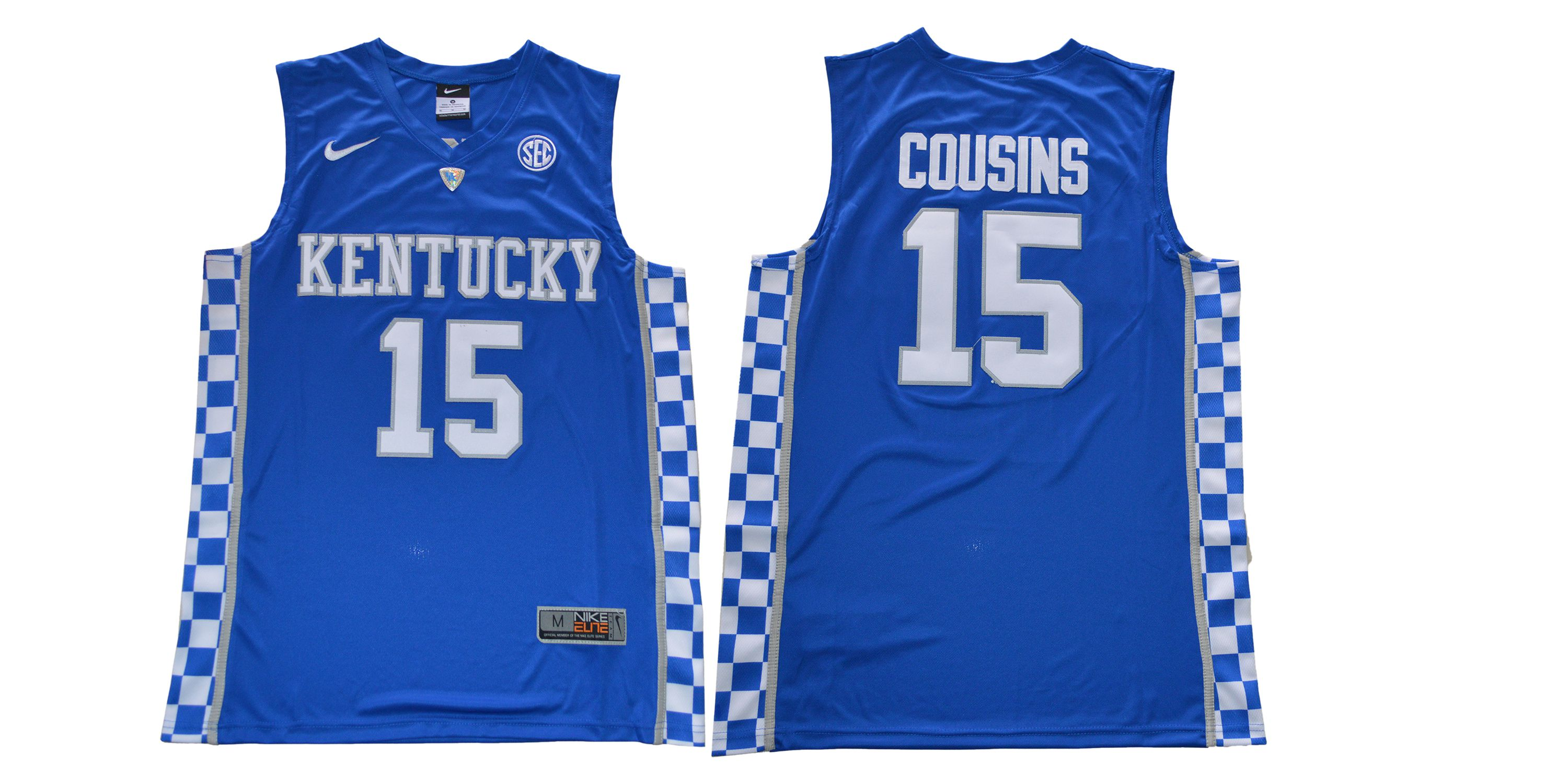 Men Kentucky Wildcats 15 Cousins Blue NBA NCAA Jerseys