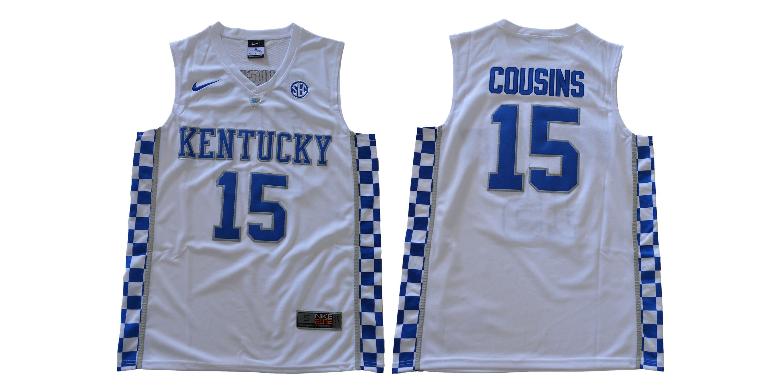 Men Kentucky Wildcats 15 Cousins White NBA NCAA Jerseys