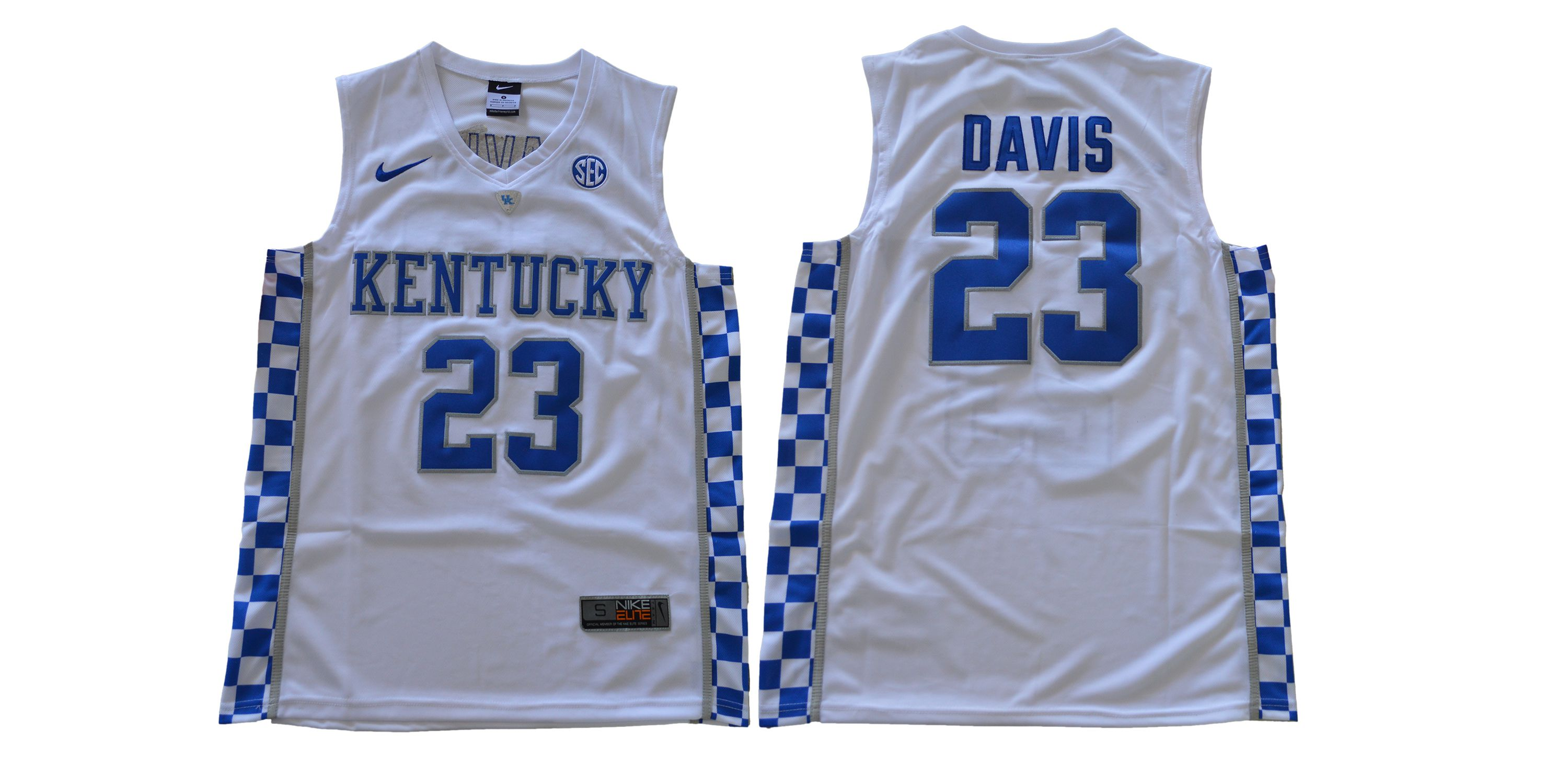 Men Kentucky Wildcats 23 Davis White NBA NCAA Jerseys
