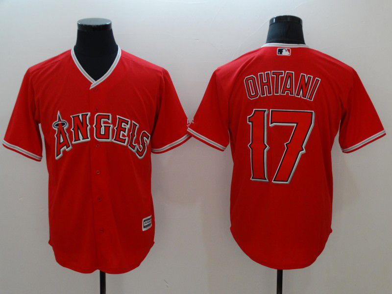 Men Los Angeles Angels 17 Ohtani Red Game MLB Jerseys