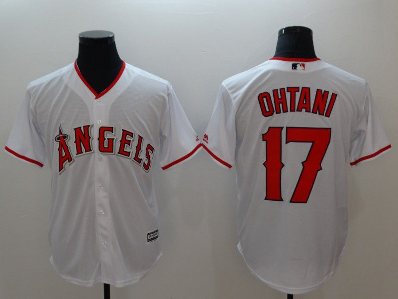 Men Los Angeles Angels 17 Ohtani White Game MLB Jerseys
