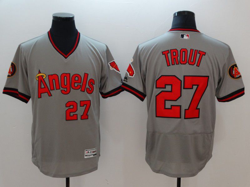 Men Los Angeles Angels 27 Trout Grey Elite Spring Edition MLB Jerseys