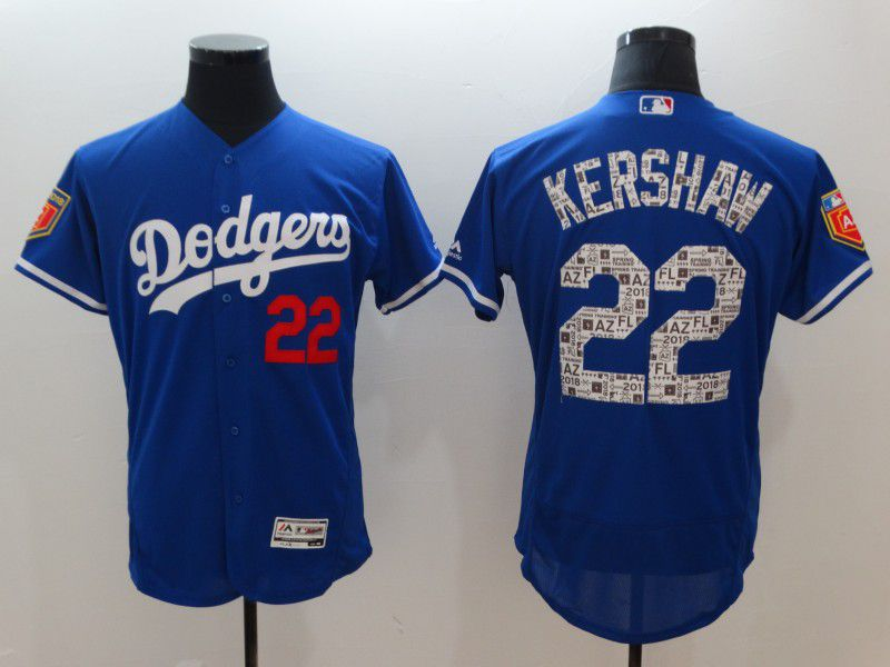 Men Los Angeles Dodgers 22 Kershaw Blue Elite Spring Edition MLB Jerseys