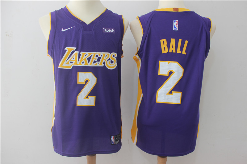 Men Los Angeles Lakers 2 Ball Purple Game Nike NBA Jerseys