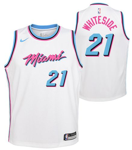 Men Miami Heat 21 Whiteside White City Edition Nike NBA Jerseys