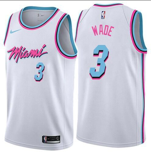 Men Miami Heat 3 Wade White City Edition Nike NBA Jerseys