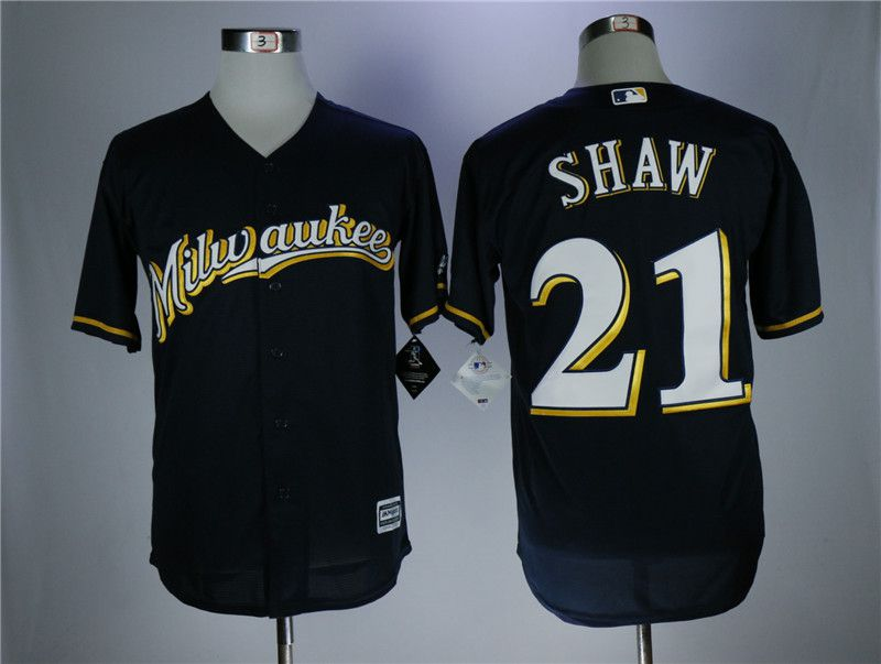 Men Milwaukee Brewers 21 Shaw Blue Elite MLB Jerseys