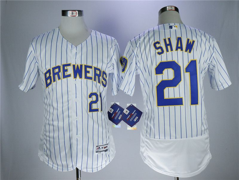 Men Milwaukee Brewers 21 Shaw White Elite MLB Jerseys