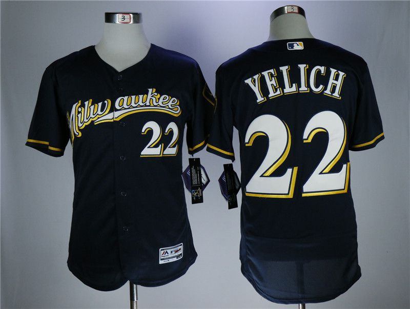 Men Milwaukee Brewers 22 Yelich Blue Elite MLB Jerseys