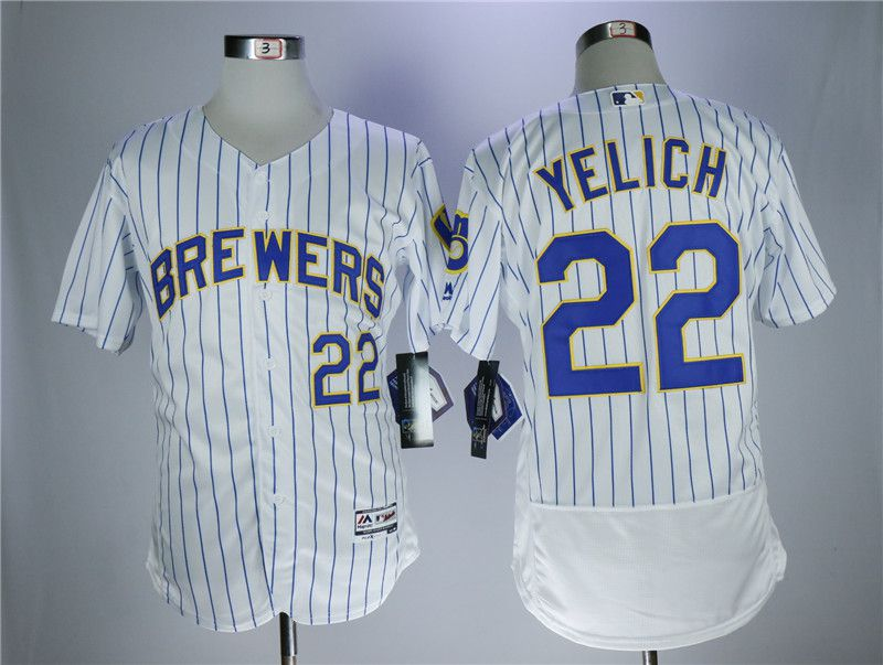 Men Milwaukee Brewers 22 Yelich White Elite MLB Jerseys