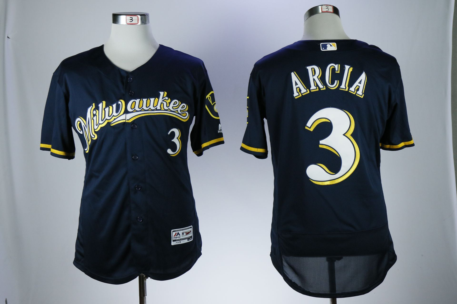 Men Milwaukee Brewers 3 Arcia Blue Elite MLB Jerseys