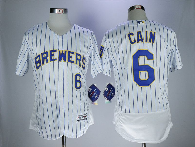 Men Milwaukee Brewers 6 Cain White Elite MLB Jerseys