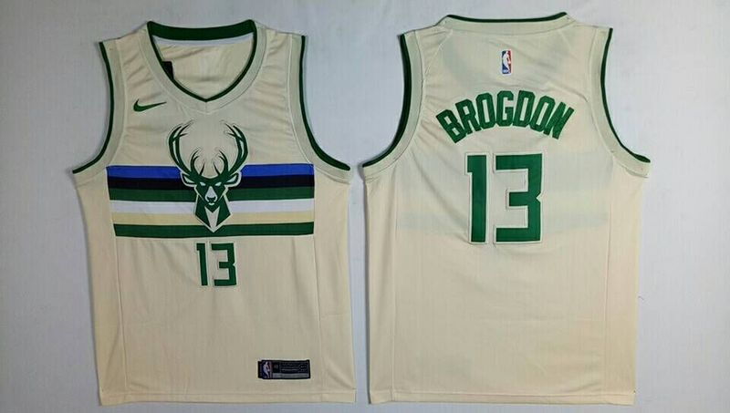 Men Milwaukee Bucks 13 Brogdon Gream City Edition Nike NBA Jerseys