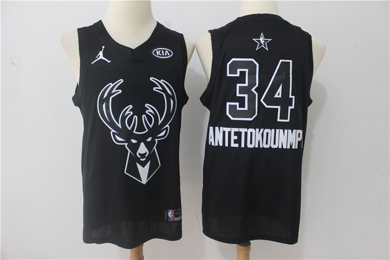 Men Milwaukee Bucks 34 Antetokounmp Black 2108 All Stars NBA Jerseys