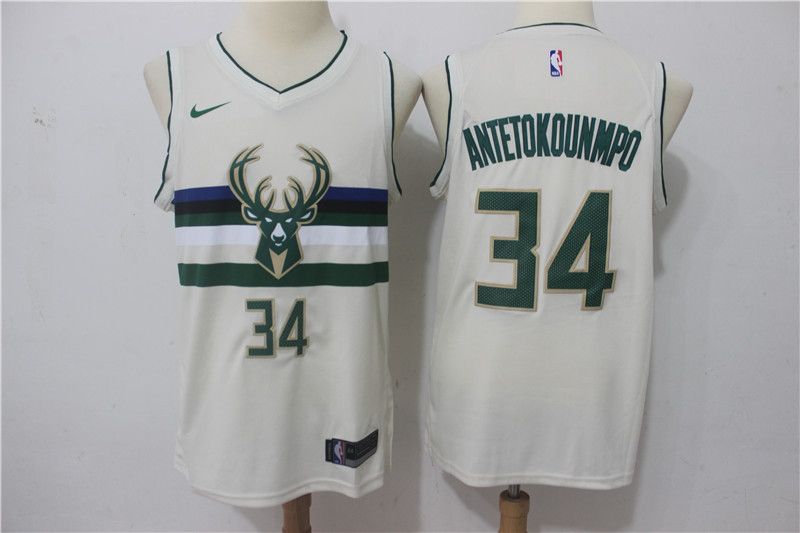Men Milwaukee Bucks 34 Antetokounmp Gream Game Nike NBA Jerseys
