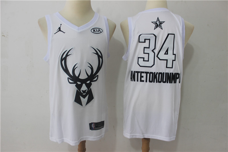 Men Milwaukee Bucks 34 Antetokounmp White 2108 All Stars NBA Jerseys