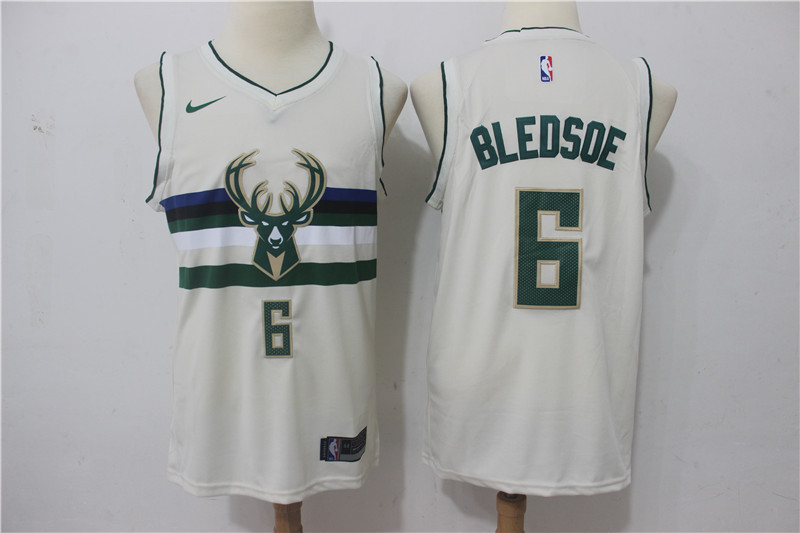 Men Milwaukee Bucks 6 Bledsoe Gream Game Nike NBA Jerseys