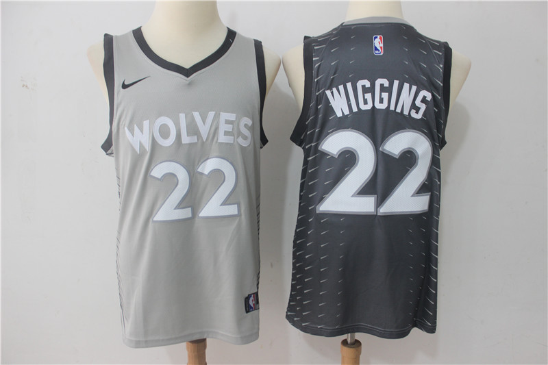 Men Minnesota Timberwolves 22 Wiggins Grey Game Nike NBA Jerseys