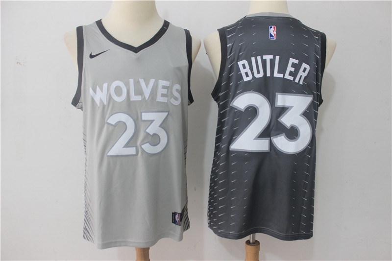 Men Minnesota Timberwolves 23 Butler Grey Game Nike NBA Jerseys