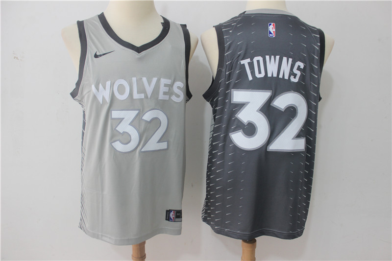 Men Minnesota Timberwolves 32 Towns Grey Game Nike NBA Jerseys