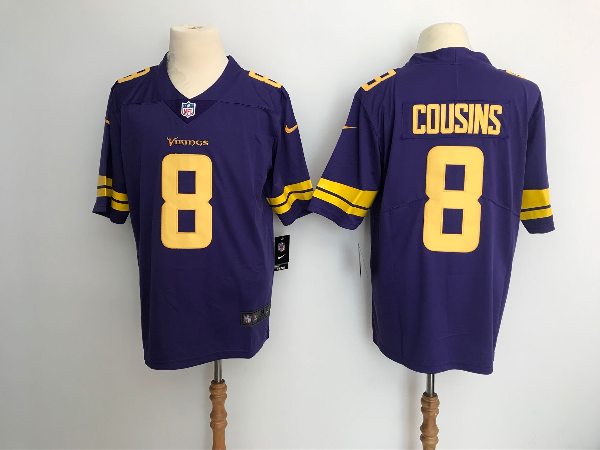 Men Minnesota Vikings 8 Cousins Purple Yellow Nike Vapor Untouchable Limited NFL Jerseys