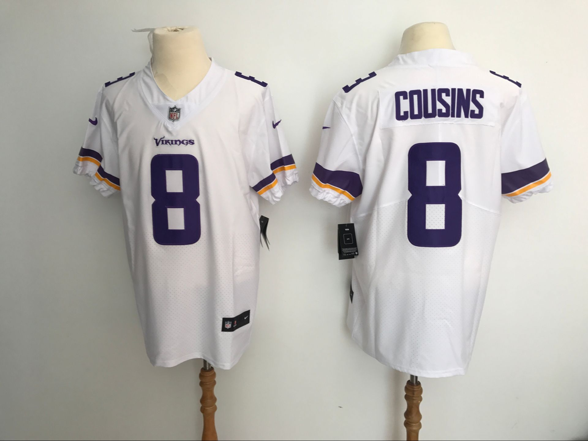 Men Minnesota Vikings 8 Cousins White Nike Elite NFL Jerseys