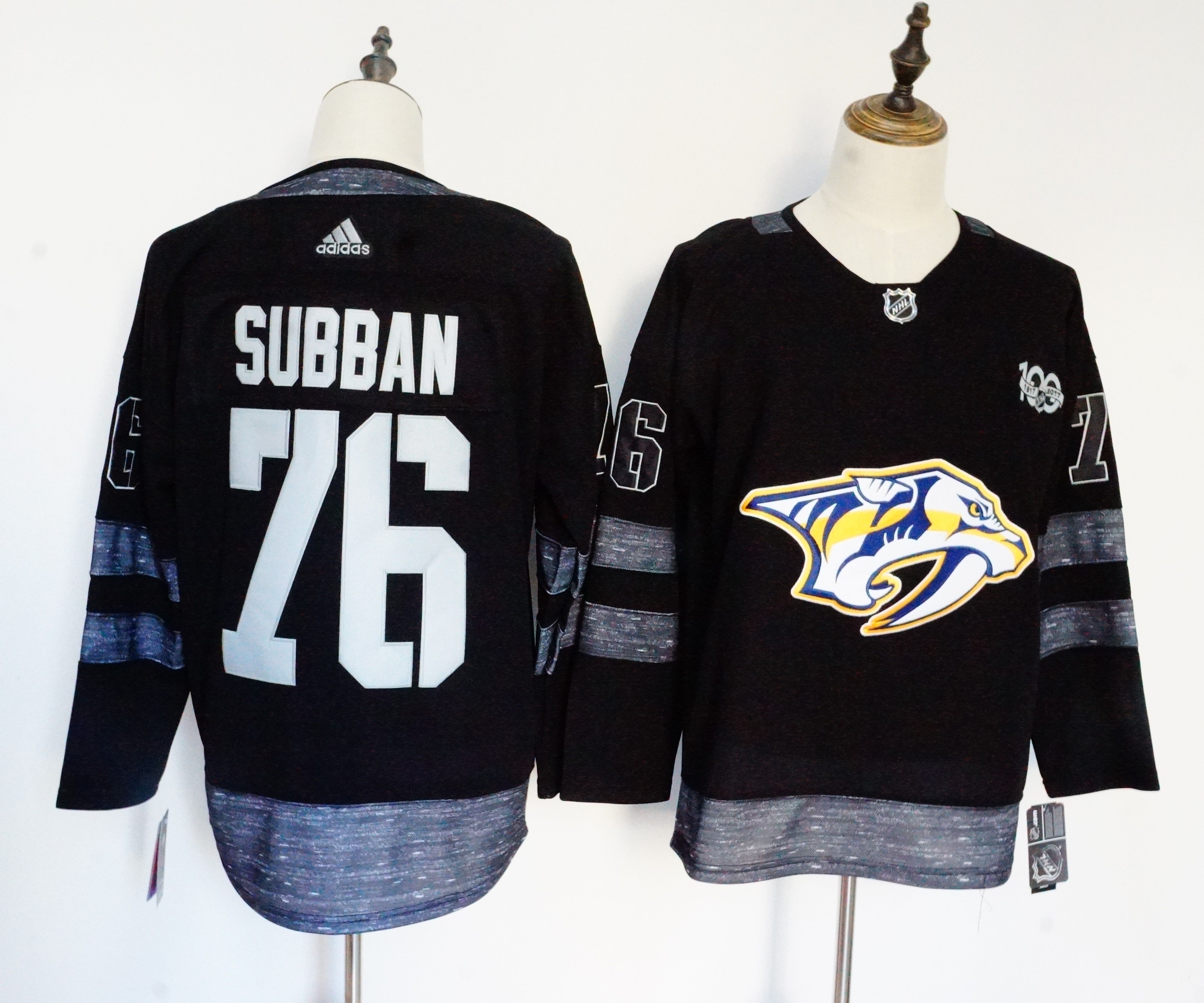 Men Nashville Predators 76 Subban Black 100th Anniversary Stitched Adidas NHL Jerseys