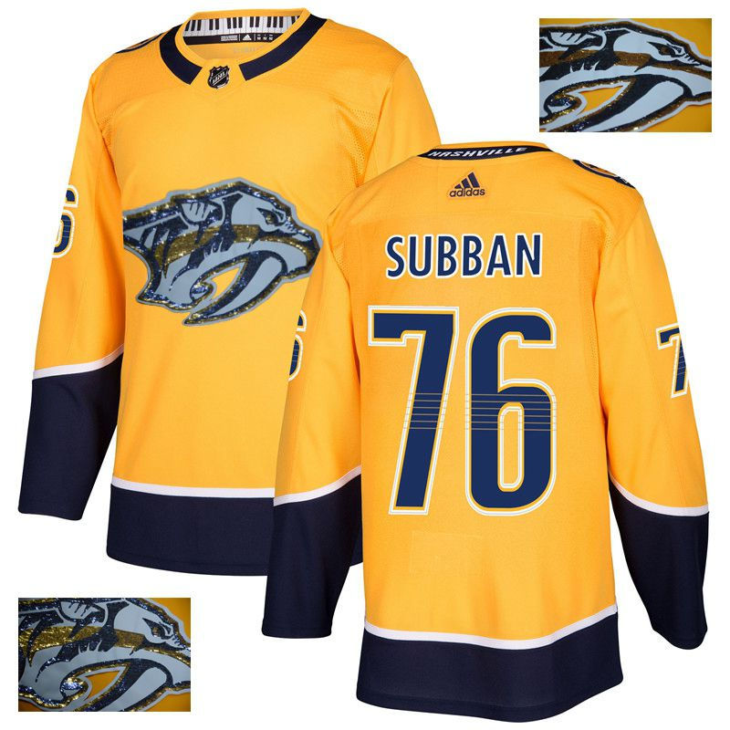 Men Nashville Predators 76 Subban Yellow Gold embroidery Adidas NHL Jerseys