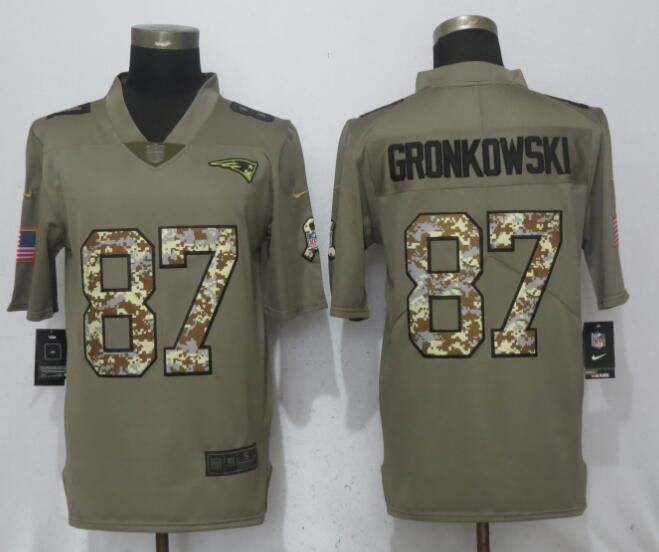Men New England Patriots 87 Gronkowski Olive Camo Carson 2017 Salute to Service Nike Limited NFL Jerseys