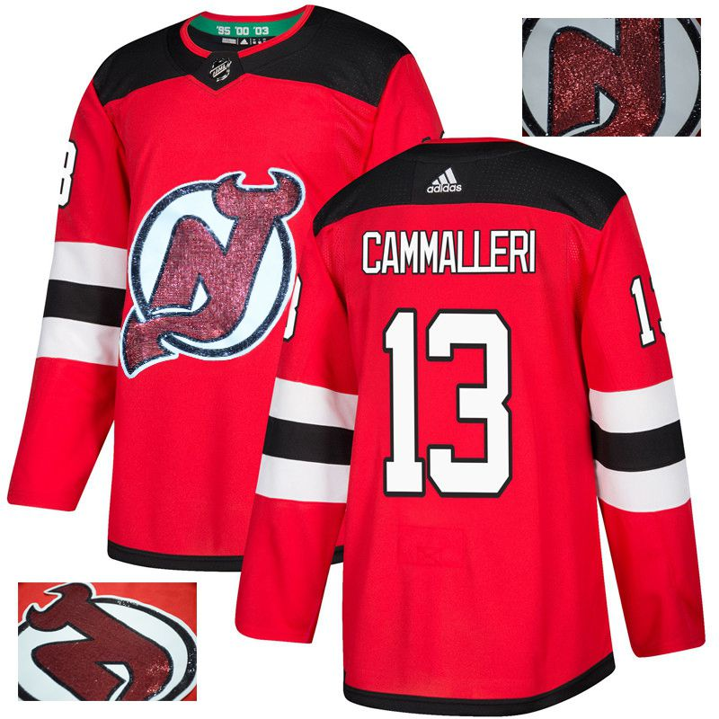 Men New Jersey Devils 13 Cammalleri Red Gold embroidery Adidas NHL Jerseys