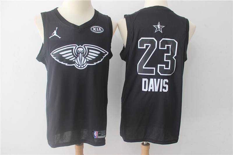 Men New Orleans Pelicans 23 Davis Black 2108 All Stars NBA Jerseys