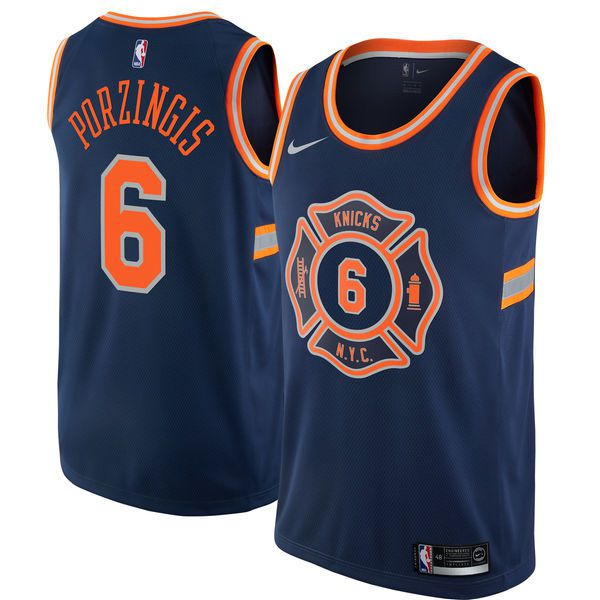 Men New York Knicks 6 Porzingis Blue City Edition Nike NBA Jerseys